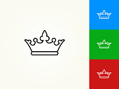 Crown Black Stroke Linear Icon. This royalty free vector illustration is featuring a black outline linear icon on a light background. The stroke is editable and the width of the line can be easily adjusted. The icon can also be converted to have a black fill color. The download includes 3 additional versions of this icon on blue, green and red background.