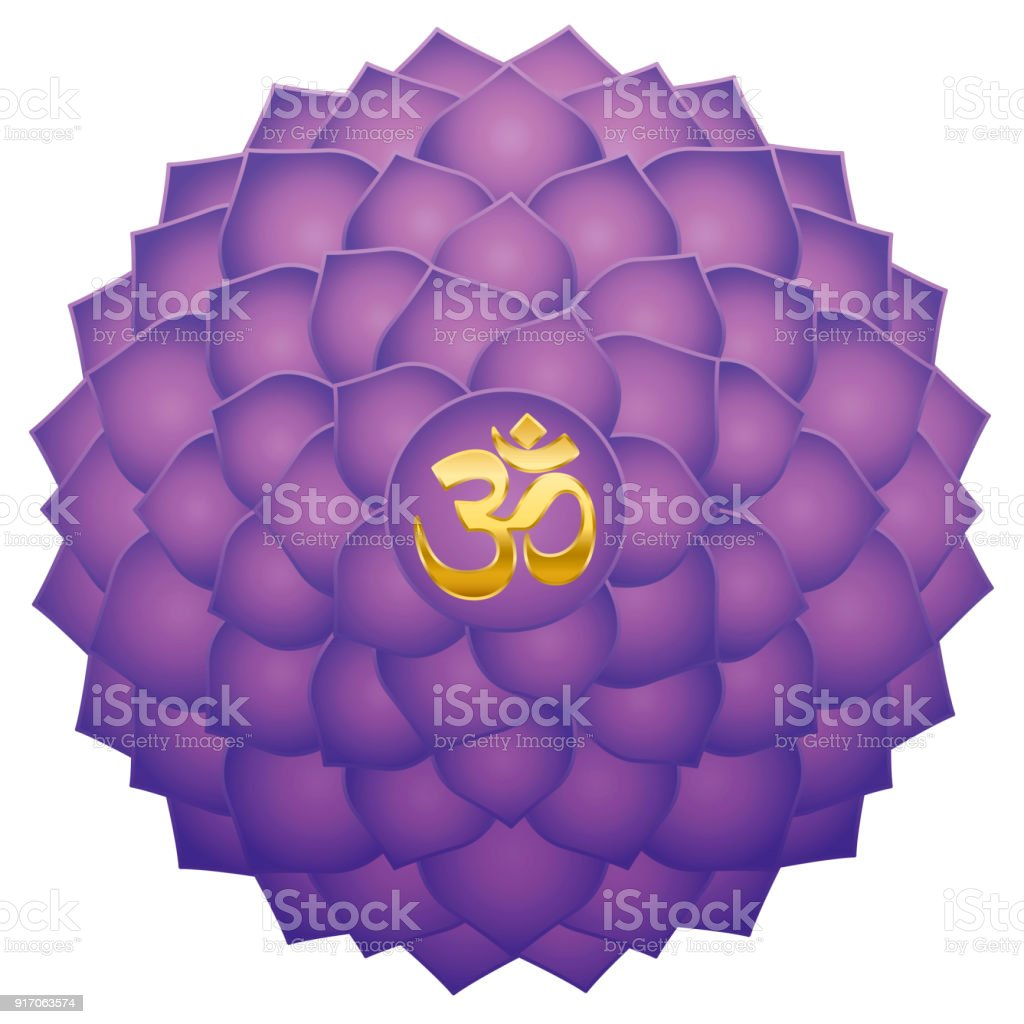 Crown Chakra With Aum Or Om Symbol In The Center Thousand Petaled