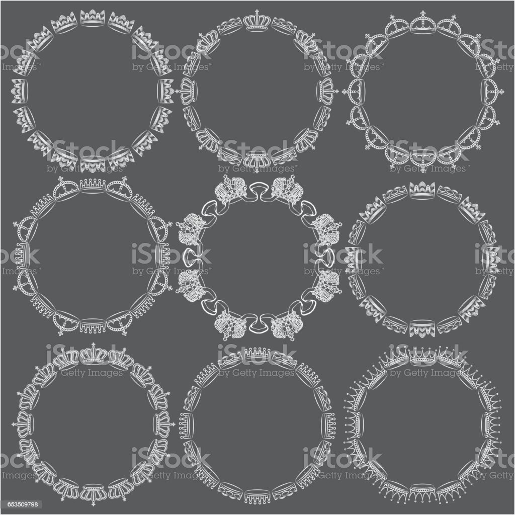 Crown Circle Frames Stock Vector Art & More Images of Black Color ...