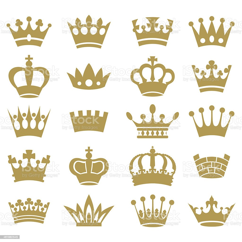 Crown collection - vector silhouette vector art illustration