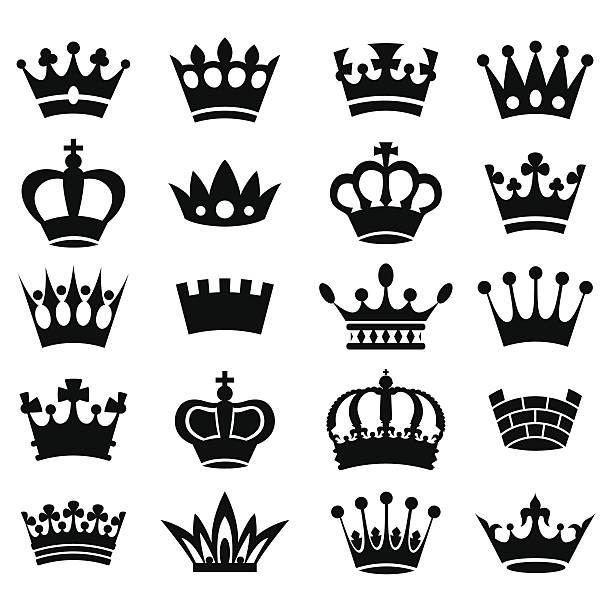 illustrations, cliparts, dessins animés et icônes de collection de la couronne-silhouette vecteur - couronne reine