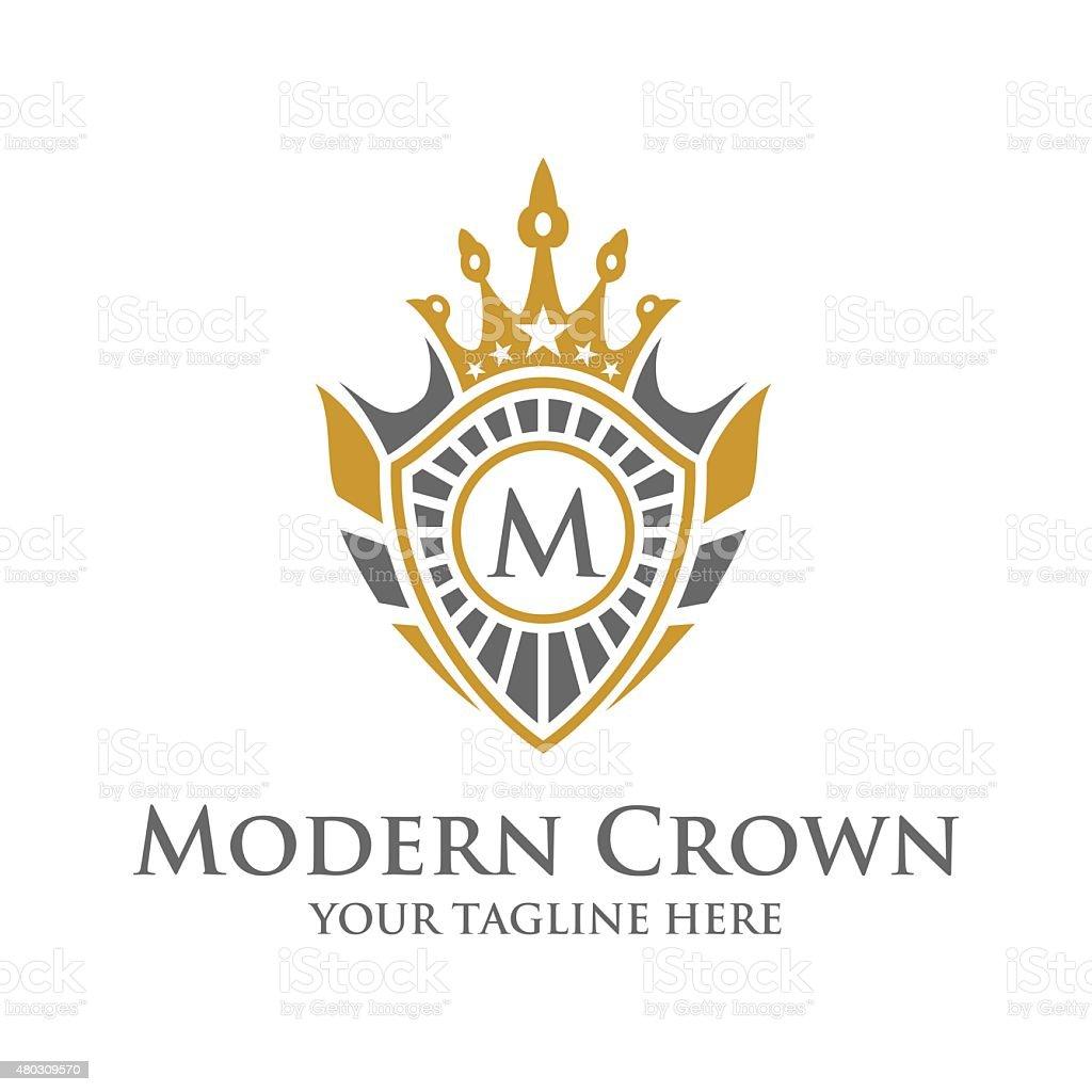 crown crest logo vector art illustration