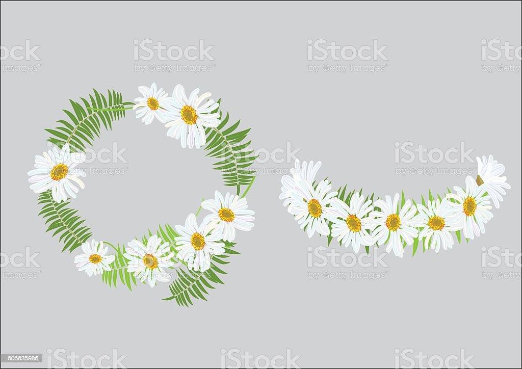 Crown daisy flower with fern ,headband - 로열티 프리 0명 벡터 아트