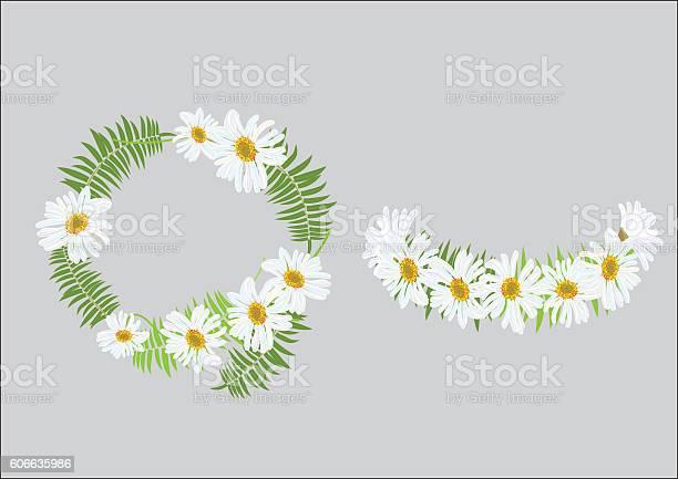 Crown Daisy Flower With Fern Headband 0명에 대한 스톡 벡터 아트 및 기타 이미지