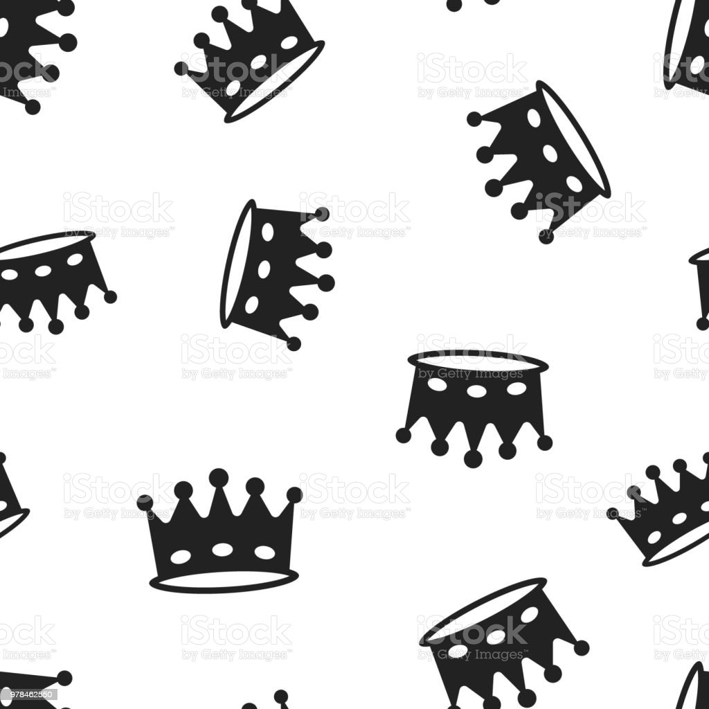 Crown Diadem Icon Seamless Pattern Background Business Concept