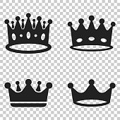 Crown diadem vector icon in flat style. Royalty crown illustration on isolated transparent background. King, princess royalty concept.