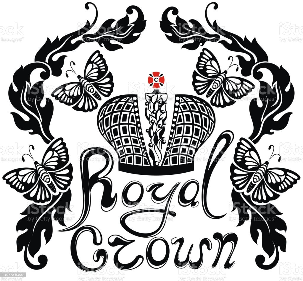 Royalty Free Background Of Queen Crown Tattoo Designs Clip Art
