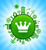 Crown Environment Green Button Background on Blue Sky