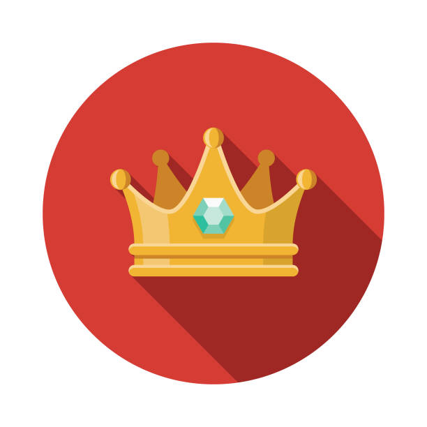 Crown Flat Design Fantasy Icon A flat design styled fantasy and role playing game icon with a long side shadow. Color swatches are global so it's easy to edit and change the colors. crown headwear stock illustrations