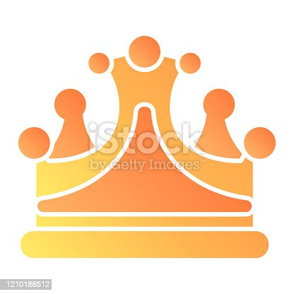istock Crown flat icon. Royal decoration vector illustration isolated on white. Jewelry gradient style design, graphic for web and app. 1210186512