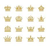 crown flat icons symbol set