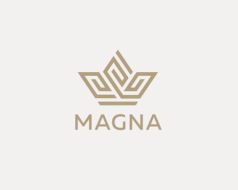 Crown flower logo icon vector design. Premium house hotel spa logotype. Royal king linear emblem