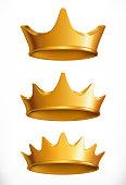 Crown, gold emblem. 3d vector icon