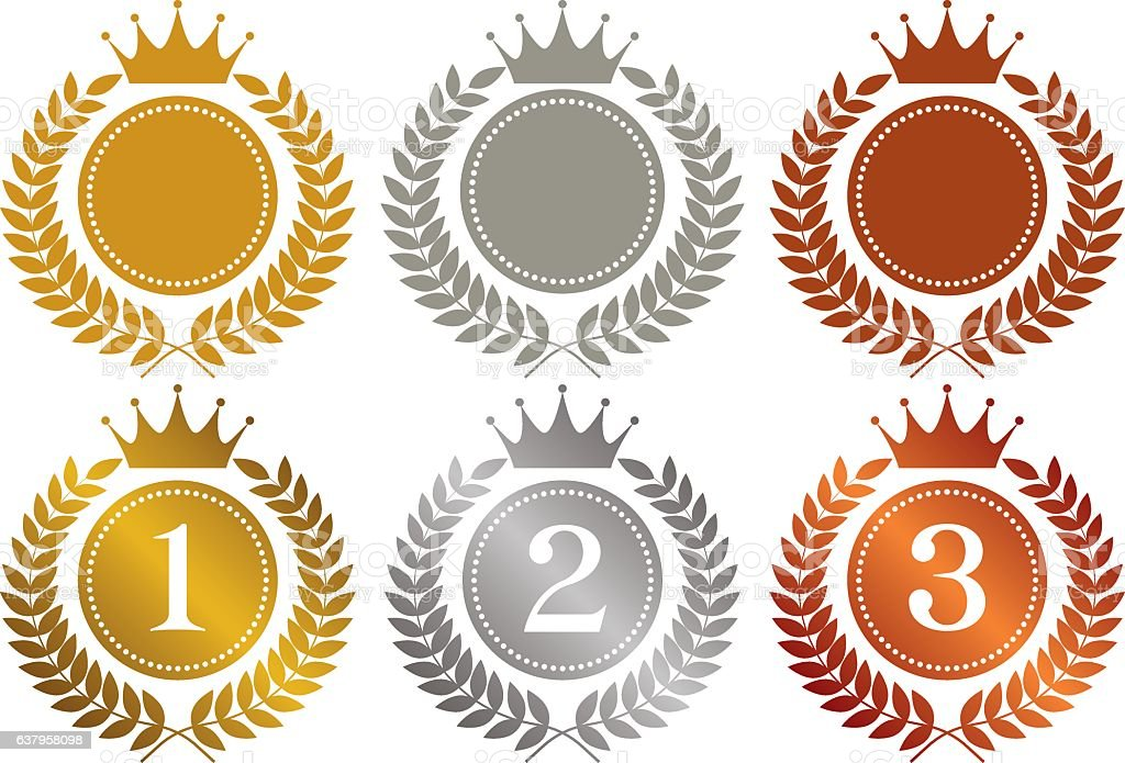 crown. gold medal. silver medal. bronze medal. vector art illustration
