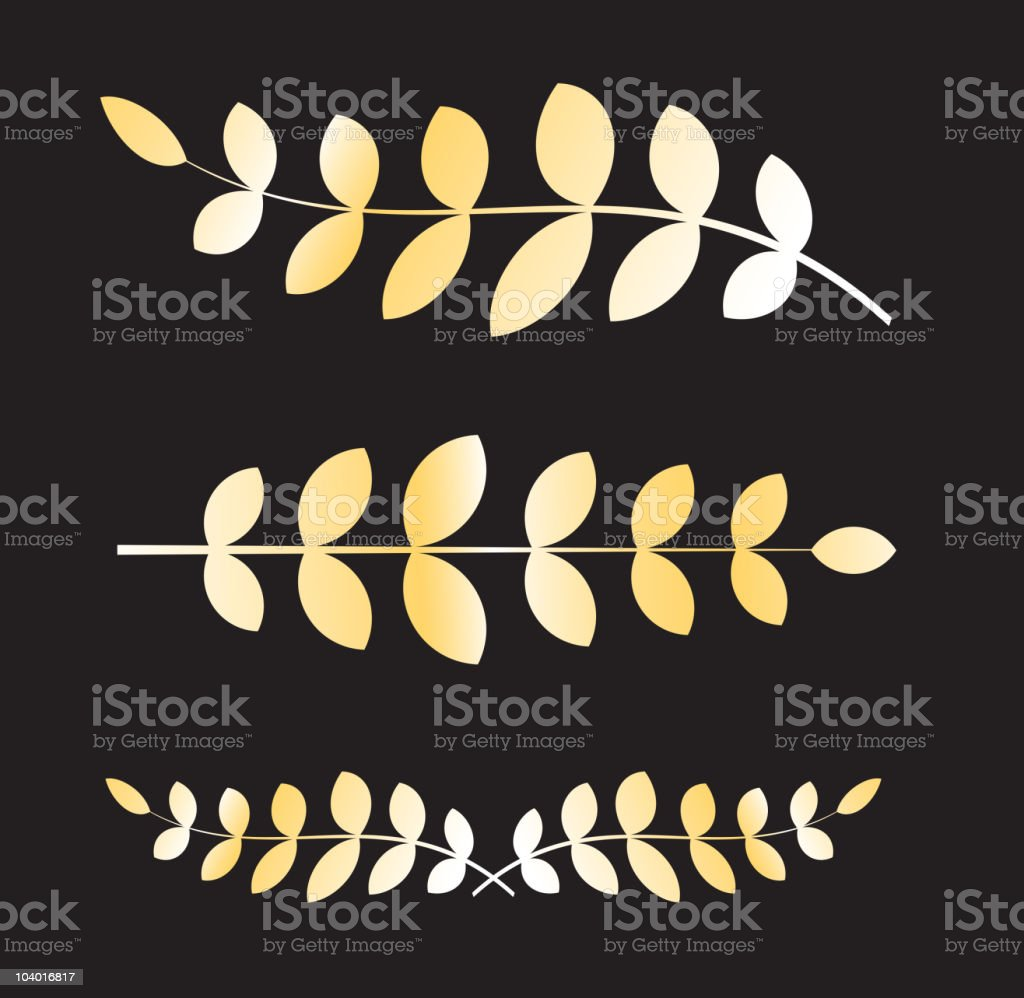 crown, golden olive branch, olympic roman laurel vector art illustration