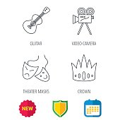 Crown, guitar music and theater masks icons.
