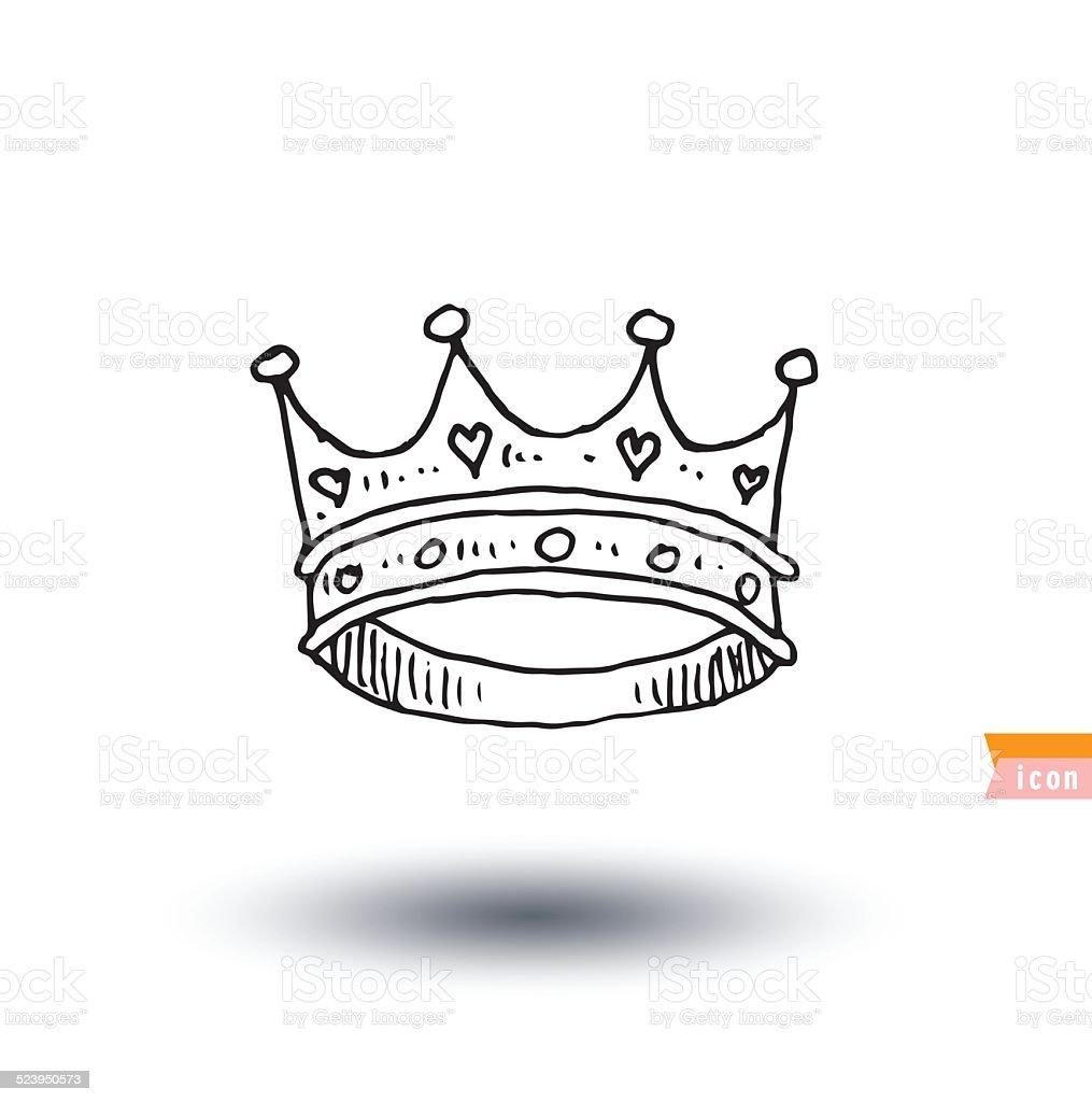 crown, hand drawn vector. vector art illustration