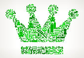 Crown  Health and Wellness Icon Set Background Pattern