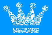 Crown  Health and Wellness Icon Set Blue Background