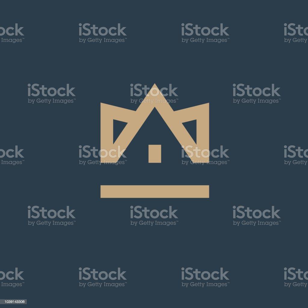 Crown House. Vector design element. Real estate. House icon vector art illustration