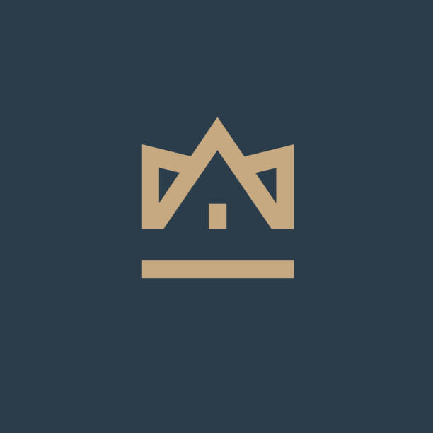 crown house. vector design element. real estate. house icon - real estate logos stock illustrations, clip art, cartoons, & icons