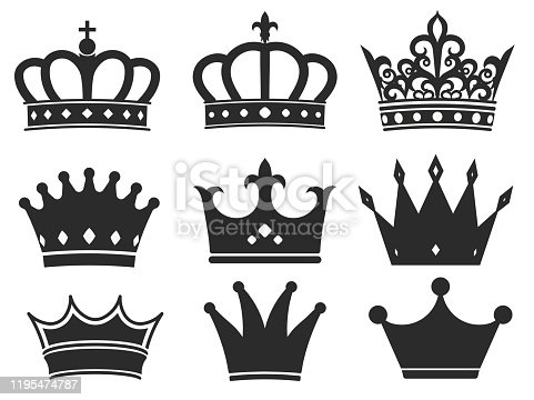 Crown silhouette icon collection. Royal diadem symbol set, majestic tiara black elements. Vector illustration