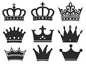 Crown icon collection. Royal diadem symbol Vector