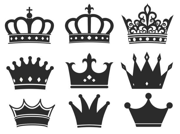 bildbanksillustrationer, clip art samt tecknat material och ikoner med crown icon collection. royal diadem symbol vektor - spain solar