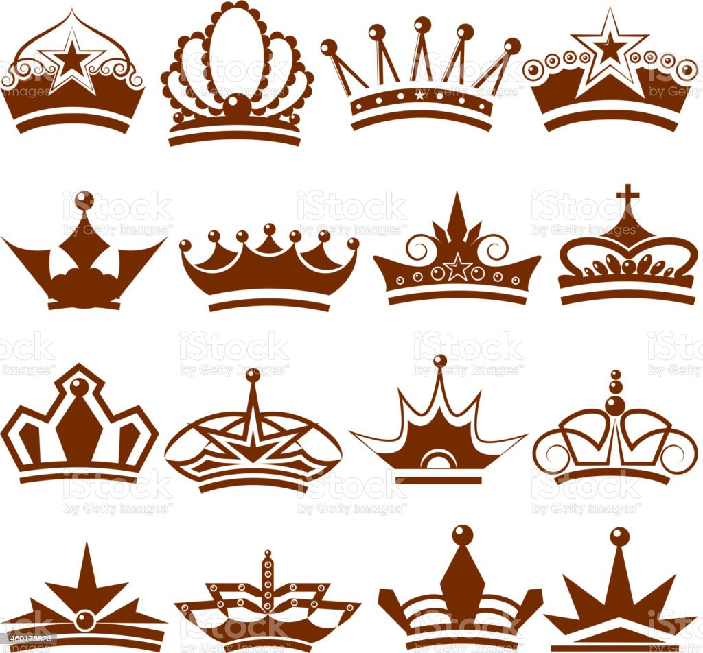 Crown Icon Collection Stock Vector Art & More Images of ...