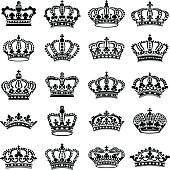 Crown icon collection - vector silhouette