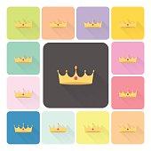 Crown Icon color set vector illustration