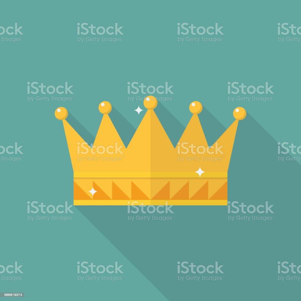 Crown icon in flat style vector art illustration
