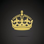 Crown icon isolated on black background.