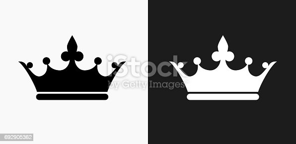 istock Crown Icon on Black and White Vector Backgrounds 692905362