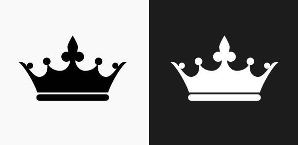 Crown Icon on Black and White Vector Backgrounds vector art illustration