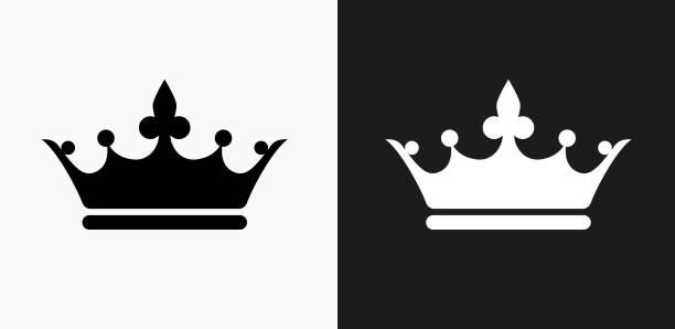 finest selection 3eb23 fdbf6 Crown Icon on Black and White Vector Backgrounds vector art illustration