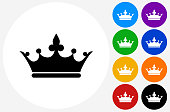 Crown Icon on Flat Color Circle Buttons. This 100% royalty free vector illustration features the main icon pictured in black inside a white circle. The alternative color options in blue, green, yellow, red, purple, indigo, orange and black are on the right of the icon and are arranged in two vertical columns.