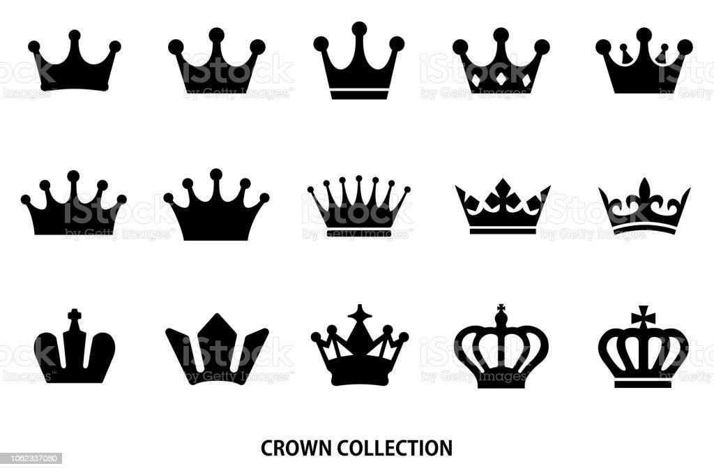 icône de couronne set / couleur noire - clipart vectoriel de Armoiries libre de droits