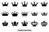 crown icon set / Black color