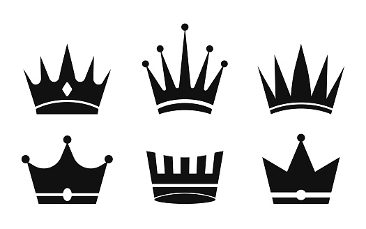 Crown icon. Silhouette of crowns queens, kings. Set of symbol for princess, prince. Royal luxury design. Heraldic vintage emblems. Black medieval collection for imperial coronation or knight. Vector