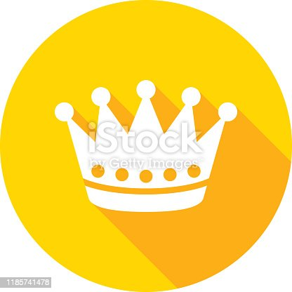 Vector illustration of a yellow crown icon in flat style.