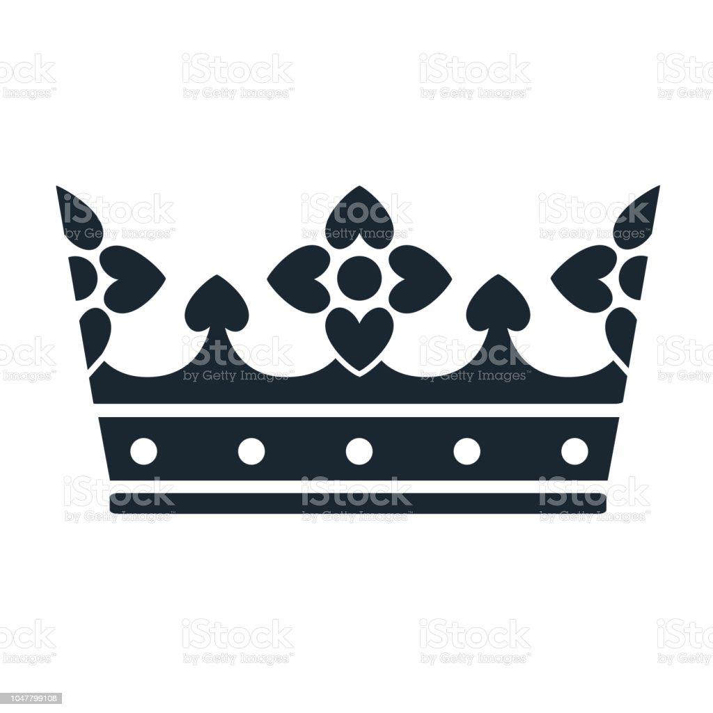 Ilustración De Icono De La Corona Signo Simple Corona Blanco Y Negro