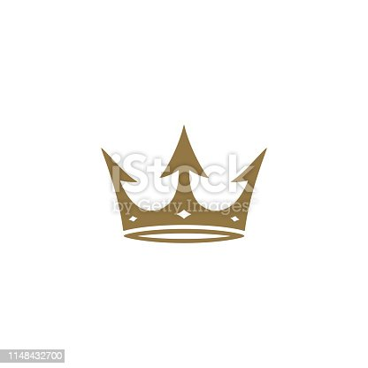 golden crown icon isolated on white