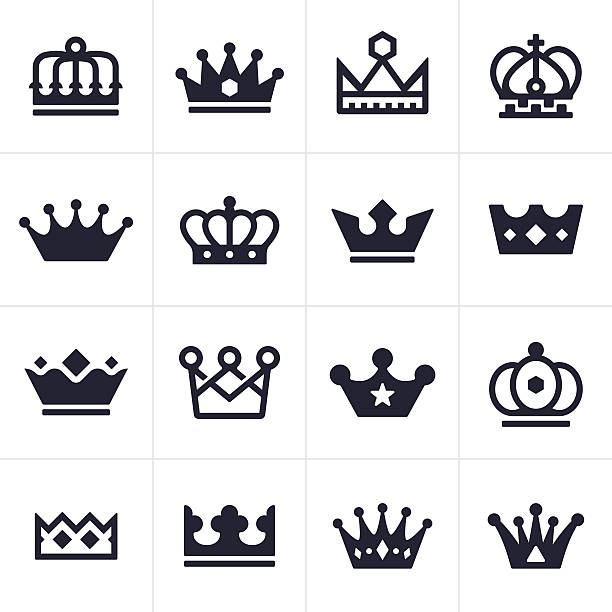 Crown Icons and Symbols King and queen crown icons and symbols collection.  EPS 10 file.  crown headwear stock illustrations