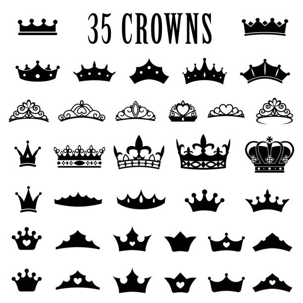 Crown icons. Princess crown. King crowns. Icon set. Antique crowns. Vector illustration. Flat style. Crown icons. Princess crown. King crowns. Icon set. Antique crowns. Vector illustration. Flat style Silhouette crown headwear stock illustrations