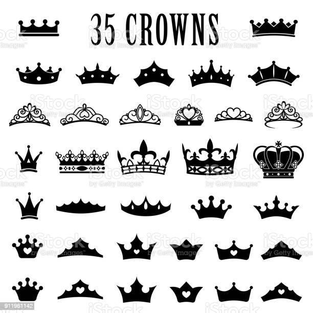 Icônes De La Couronne Couronne De Princesse Couronnes De Roi Jeu Dicônes Couronnes Antiques Illustration Vectorielle Plat Style Vecteurs libres de droits et plus d'images vectorielles de Autorité