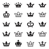 Crown set of twenty vector icons