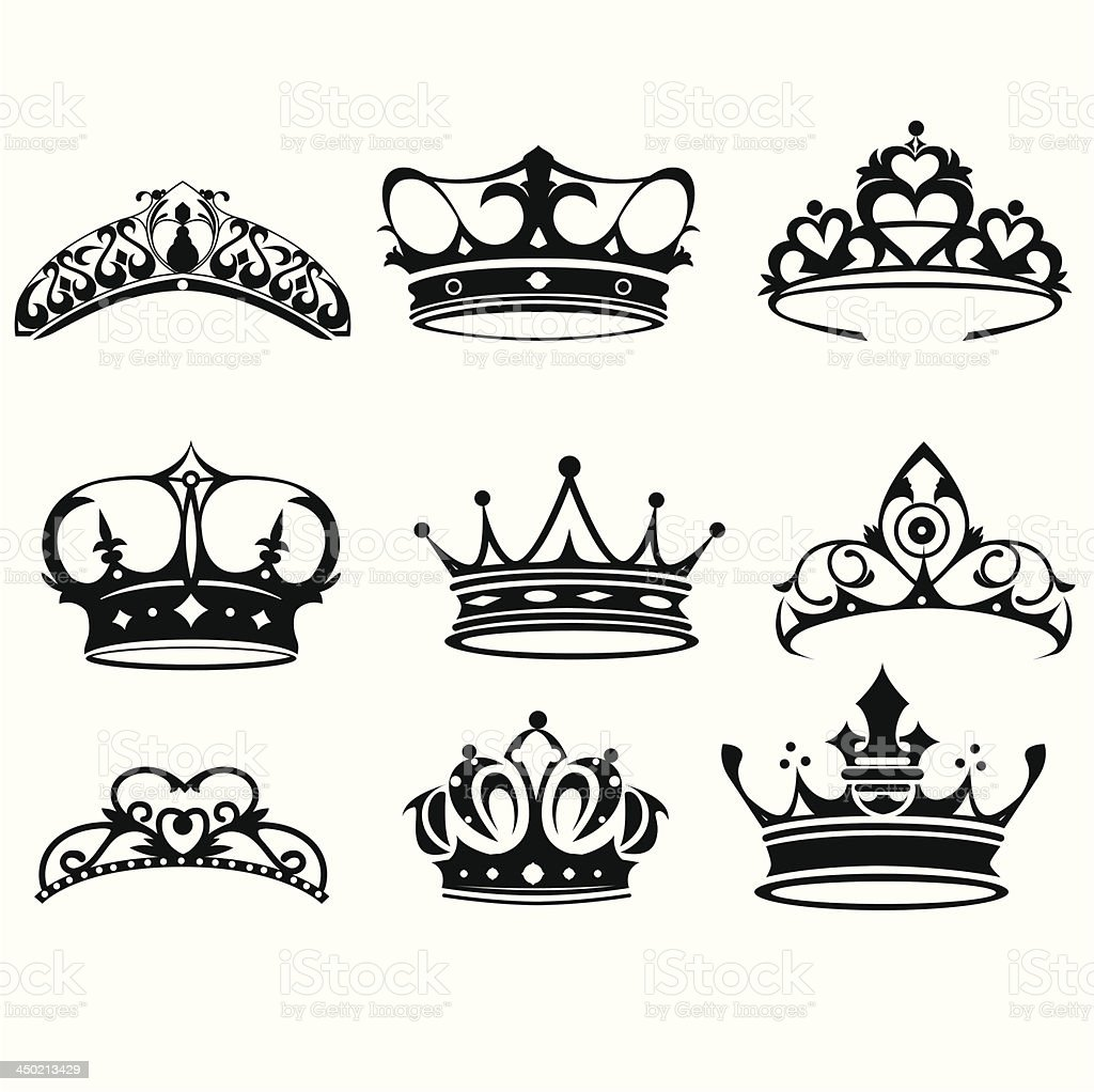 Crown icons royalty-free crown icons stock vector art & more images of black color