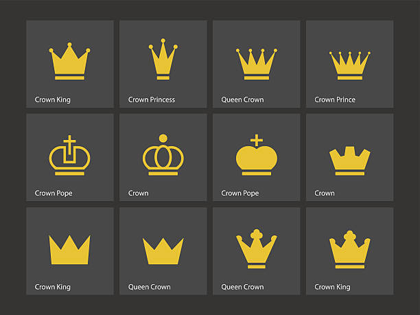 Crown icons. Vector illustration. Crown icons. Vector illustration. chess knight silhouette stock illustrations