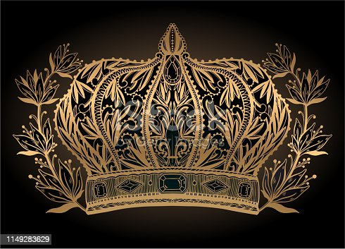 istock Crown king and queen elegant drawing art. Gold color in black background. 1149283629
